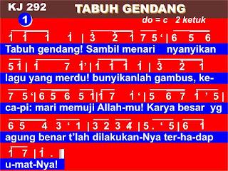 Lirik dan Not Kidung Jemaat 292 Tabuh Gendang!