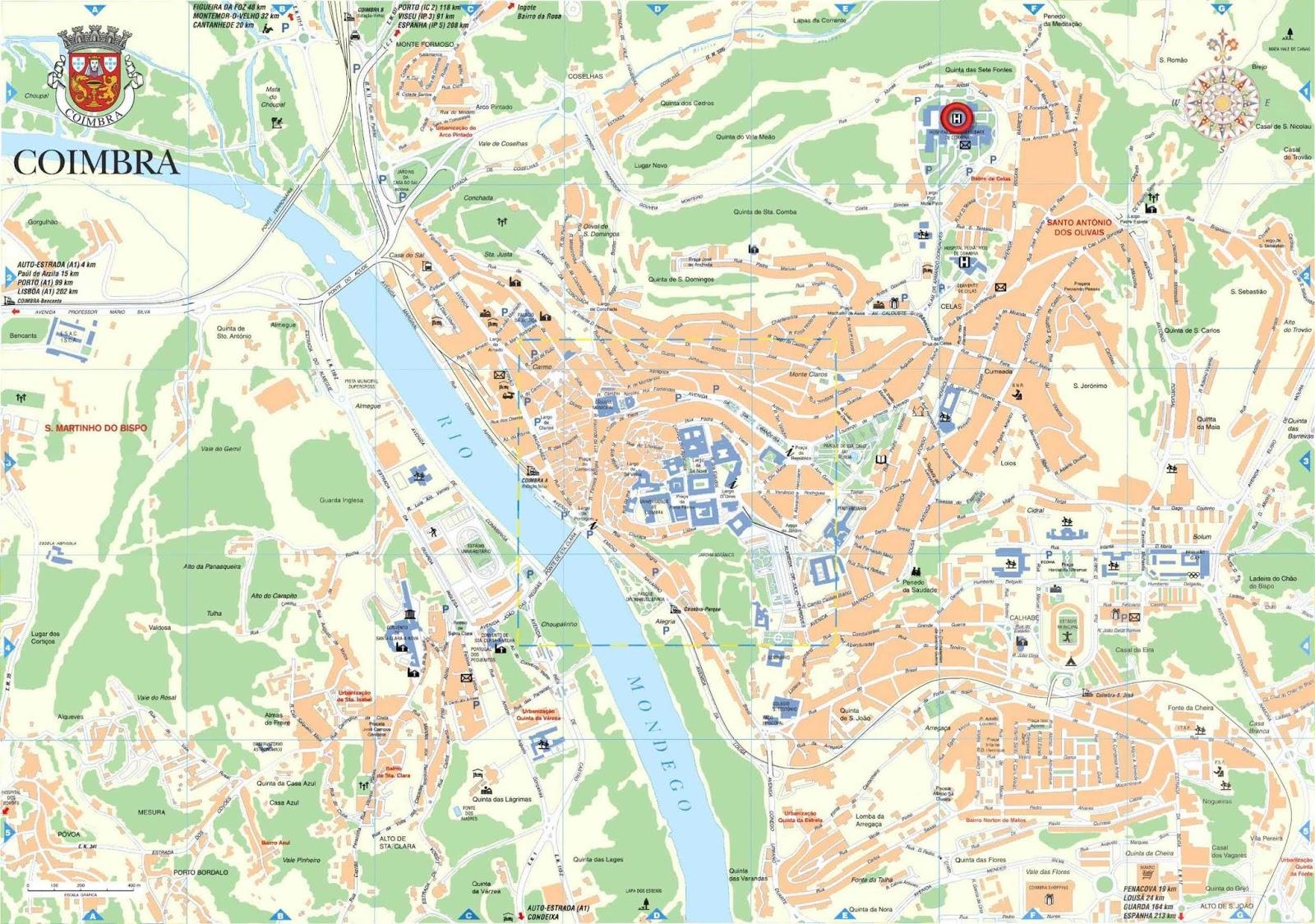 mapa de coimbra Mapas de Coimbra   Portugal | MapasBlog mapa de coimbra