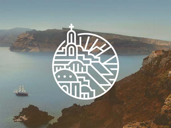 Inspirasi Desain Logo Monoline 2017 - Santorini Monoline Logo