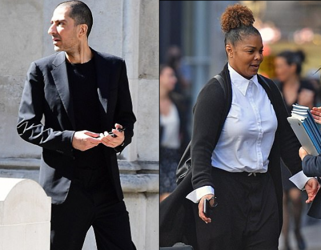 هكذا ظهر المليونير القطري وسام المانع بعد جلسة إجراءات الطلاق من جانيت جاكسون  بعد خروجهما من قاعة المحكمة العليا في العاصمة البريطانية لندن.