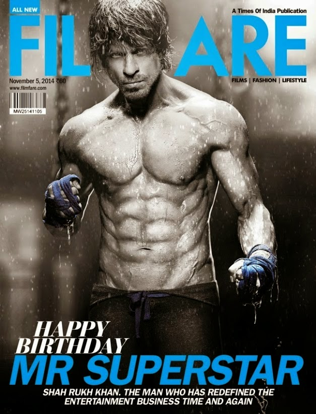 Shahrukh Khan Filmfare Superstar Cover, Shahrukh Khan 8 Pack Abs Nude body Photos