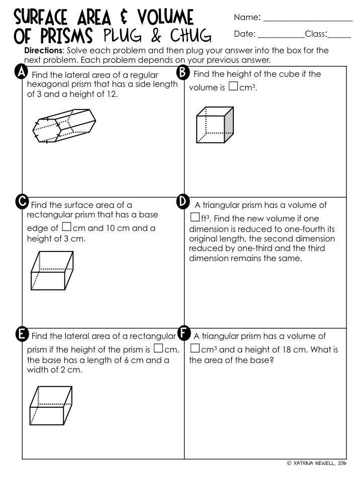 Surface Area Volume of Prisms Unit Mrs Newells Math – Volume of a Triangular Prism Worksheet