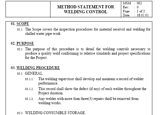 Method statement for construction for Construction statement of work template