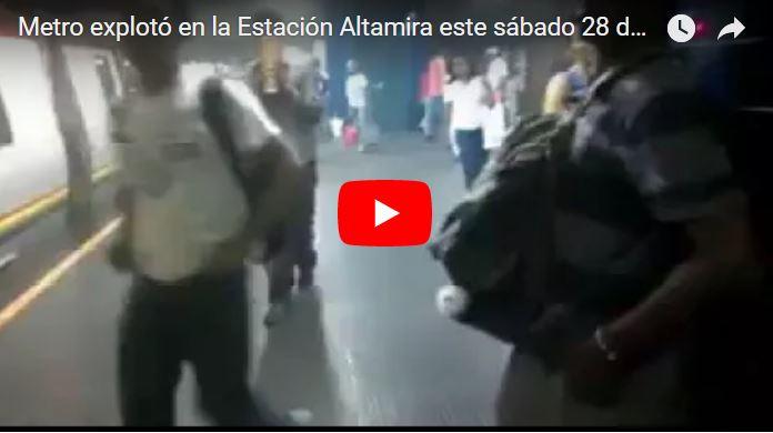 Metro de Caracas explotó en Altamira durante la tarde del sábado