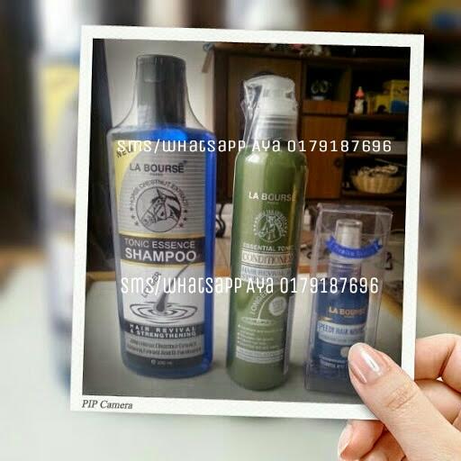 SET LA BOURSE HAIR CARE 3 ITEM  HARGA PROMOSI SAH SEHINGGA 30/04/14 1 SET RM85 S/M..RM90 S/S..FREE POSLAJU  SMS/WHATSAPP AYA 0179187696  La Bourse Essential Tonic Shampoo - 300ml Rumusan eksklusif yang mengandungi bahan-bahan terbaik, terutamanya ekstrak ginseng semulajadi, vitamin dan D-Panthenol. Ia membersihkan dan keadaan rambut, akar rambut dan kulit kepala manakala membesarkan saluran darah kapilari dan mengaktifkan papila rambut untuk merangsang pertumbuhan rambut dan melindungi rambut gugur. Mengurangkan kelemumur dan gatal kulit kepala.   La Bourse Essential Tonic Conditioner - 250 ml Dengan Kuda Extract Tail, Ginseng Extract & D-Panthenol La Bourse Essentioal Tonic Conditioner mampu menyuburkan rambut menjadi lebih sempurna. Ia juga membantu merangsang peredaran darah di bawah kulit kepala. Menguatkan akar rambut. Mempercepatkan pertumbuhan rambut, rambut cepat panjang, rambut lembut dan licin, rambut yang beralun, bersinar dan sihat. Ia adalah disyorkan untuk digunakan dengan shampoo untuk kesan yang  lebih pantas.   La Bourse Speedy hair Nourishing Superior Hair Tonic Essence - 45 ml  Membantu menyuburkan akar rambut dan kulit kepala. Mempercepatkan pengeluaran rambut baru. Membantu merangsang peredaran darah di bawah kulit kepala. Mempercepatkan percambahan yang lebih baik rambut termasuk menyuburkan dan menguatkan rambut, untuk tidak jatuh.  #laboursehaircare #labourseshampoo #setrambut #setrambutlabourse #setlabourse #labourseset #penjagaanrambut #bazaronline #bazaaronline #bazarpaknil #bazaarpaknil #instashopmalaysia #instabiz #jualbeli #laboursemurah #jualanmurah #promosi #sayajual #sayajuallabourse #sayajualalaboursehaircare #sayajualsetlabourse