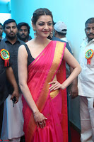Kajal Aggarwal in Red Saree Sleeveless Black Blouse Choli at Santosham awards 2017 curtain raiser press meet 02.08.2017 008.JPG