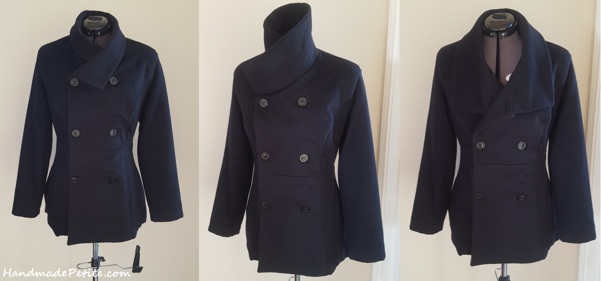 Sewn petite black cashmere coat from Butterick 5685 pattern modified collar