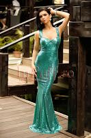 Rochie lunga tip sirena cu paiete verzi si spatele gol • Atmosphere