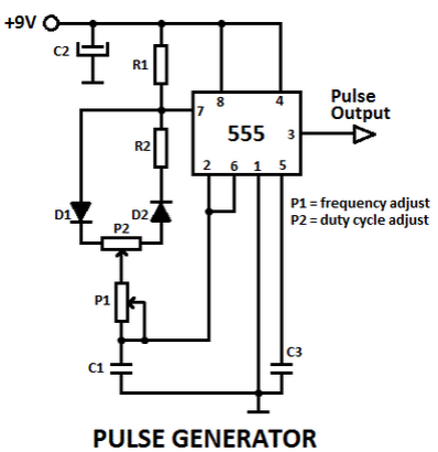 Wiring Schematic Diagram: 1Hz Pulse Generator Circuit by