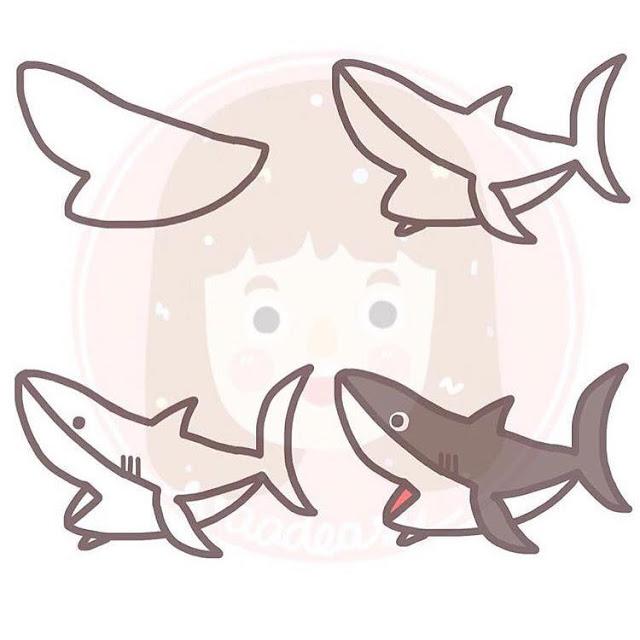 Cara menggambar hiu untuk anak-anak