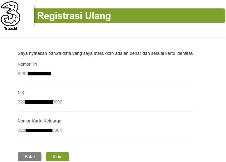 Registrasi Ulang 3 Three