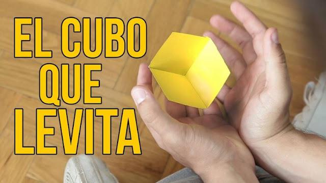 cubo, levita, ilusion, optica