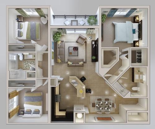Denah Model Rumah Minimalis Tipe 60 Dengan 2 Lantai