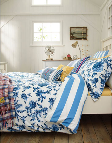 Beachy inspired floral bedding from the new Joules homeware collection.