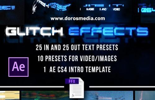 بريسيت تأثير الكلتش الرائع للنصوص والفيديو في برنامج الأفترافكت Glitch Presets for Text and Video
