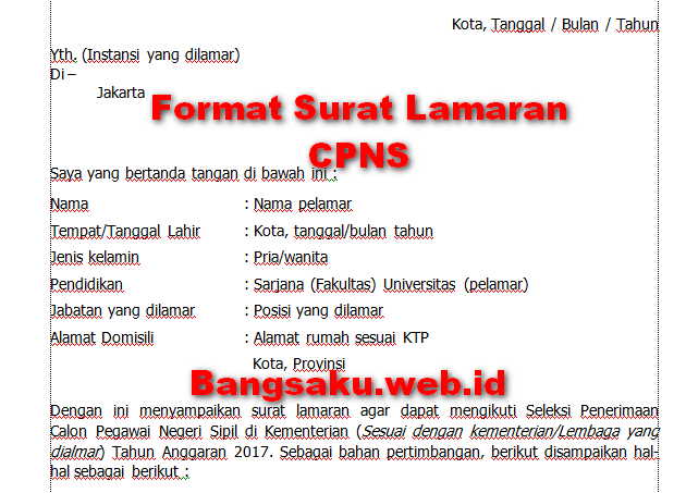 Format Surat Lamaran Surat Pernyataan Cpns 2019