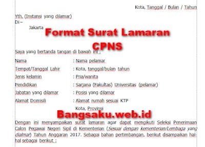 Format Surat lamaran CPNS 2017