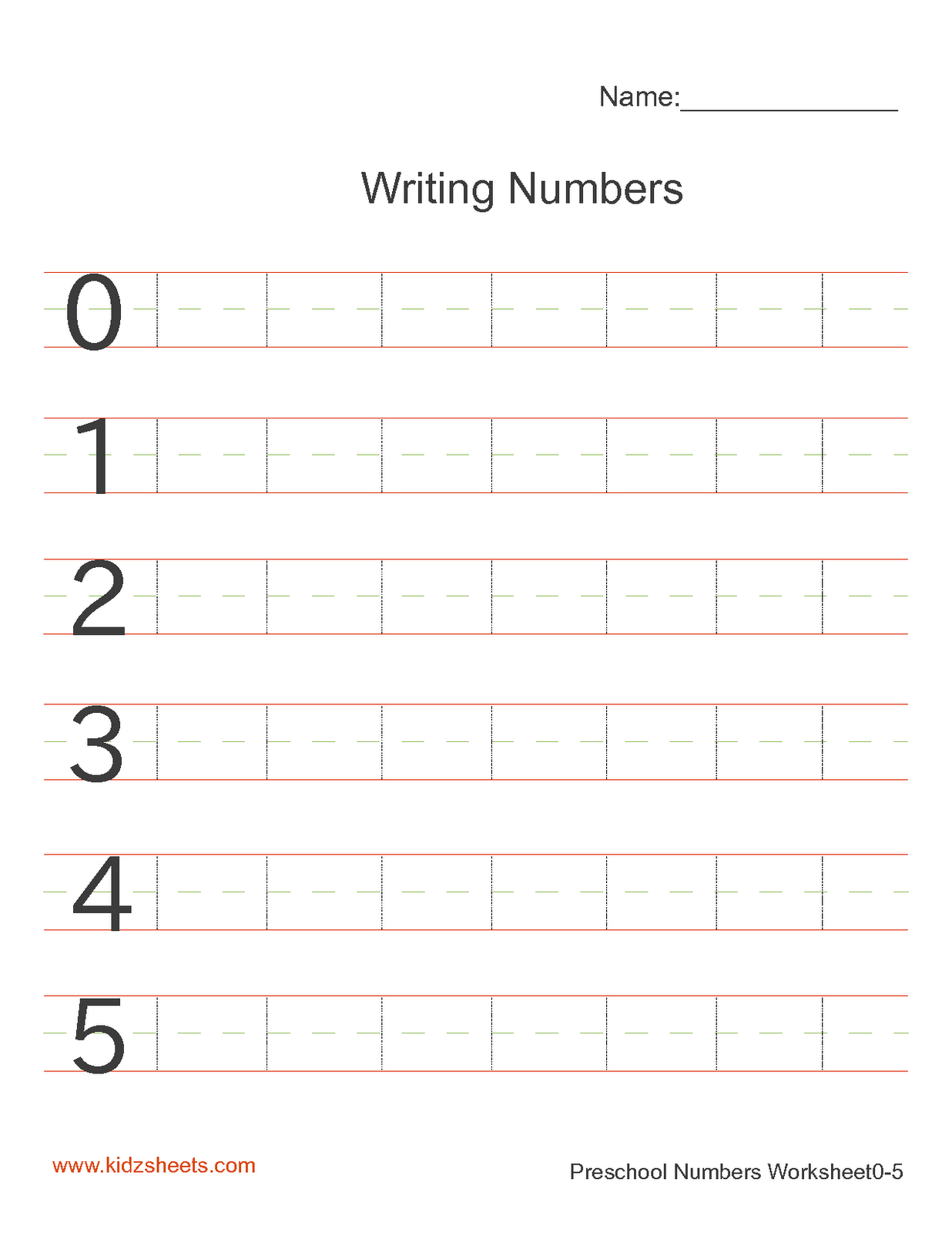 Kidz Worksheets Preschool Writing Numbers Worksheet1