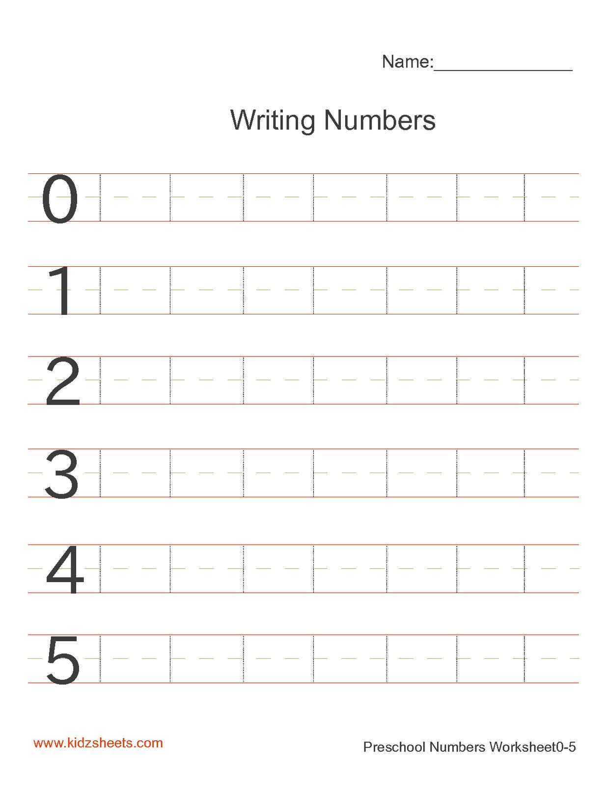 medium resolution of Kidz Worksheets: Preschool Writing Numbers Worksheet1