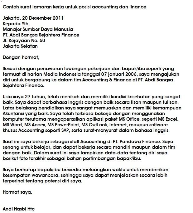 Contoh Application Letter Dalam Bahasa Inggris