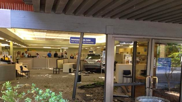 AAA office fresno suv crash car hits building collision shaw avenue
