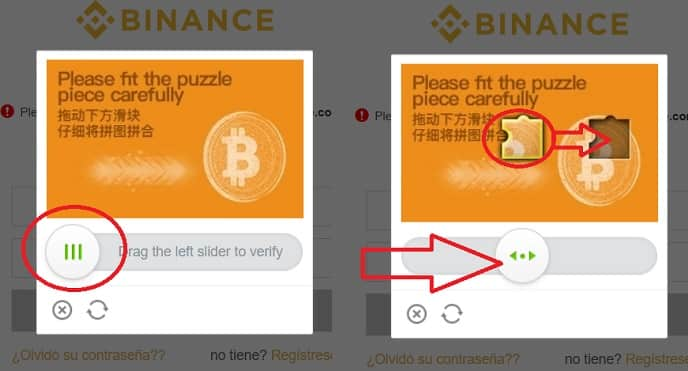resolver captcha de binance registro login