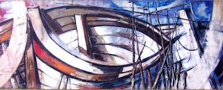 Mural titulado Barcas, obra de Alberto Moreno