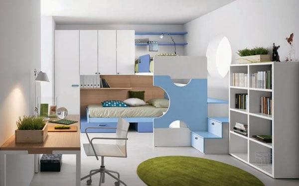 Dormitorio juvenil celeste blanco