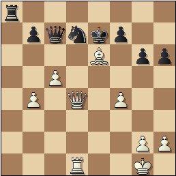 Partida de ajedrez Albareda - Bordell, 1957, posición después de 29.Axe6!