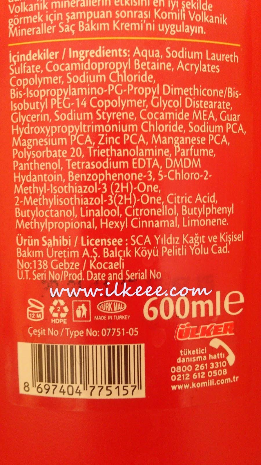 Komili Volkanik Mineraller Şampuanı- Komili-Besleyici Bakım-Parabensiz Şampuan