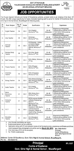 Female Teachers Jobs in Daanish School for Girls Muzaffar Garh