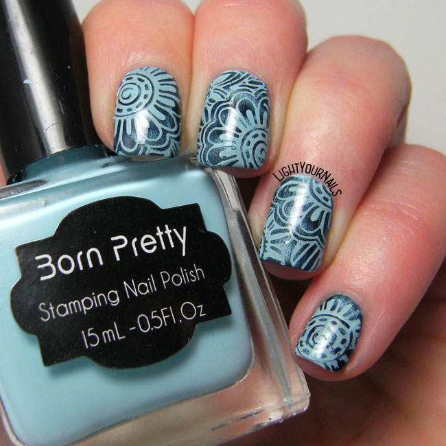 Monochromatic blue flowers nail art feat. BP-L046 stamping plate and Douglas Magnet 3D Blue Attraction