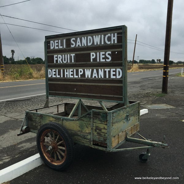 roadside sign at Manas Ranch Meat Market in Esparto, Capay Valley, California