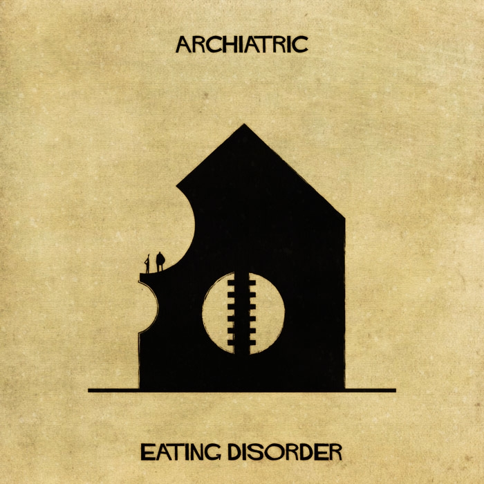 12-Eating-Disorder-Federico-Babina-ARCHIATRIC-Mental-Health-Illustrations-Paired-with-Architecture-www-designstack-co