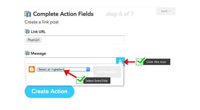 IFTTT Blogger recipe ingredients for Facebook