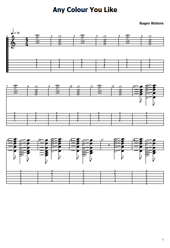 Any Colour You Like Tabs Pink Floyd - How To Play Any Colour You Like On Guitar Tabs & Sheet Online