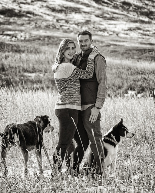 a great black and white engagement portrait of a couple in Boulder Colorado