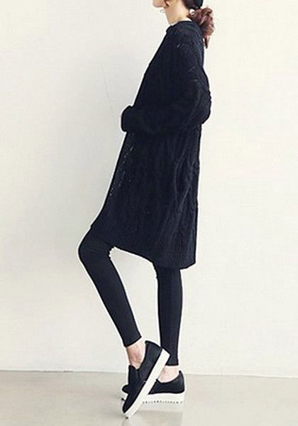Street Style Long Cardigan Over Black Skinny Pants And Sneakers