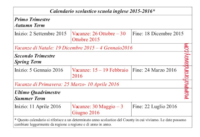 calendario scolastico scuola inglese