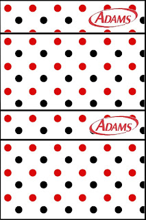 Red Polka Dots in Black and White Free Printable Gum Adams Labels.