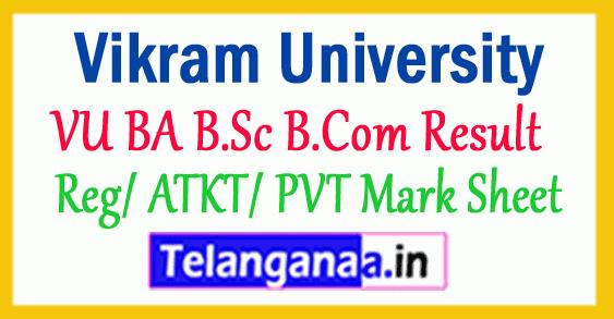 Vikram University Result VU BA B.Sc B.Com Result