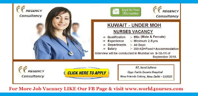 KUWAIT UNDER MOH - STAFF NURSE (MALE&FEMALE) RECRUITMENT 2018