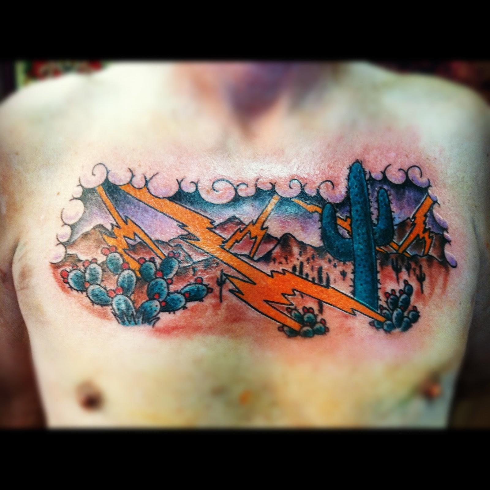 049421d690cc0 Tucson Arizona Monsoon Traditional Color Chest Custom Tattoo By David Meek  Tattoos at Fast Lane Tattoo