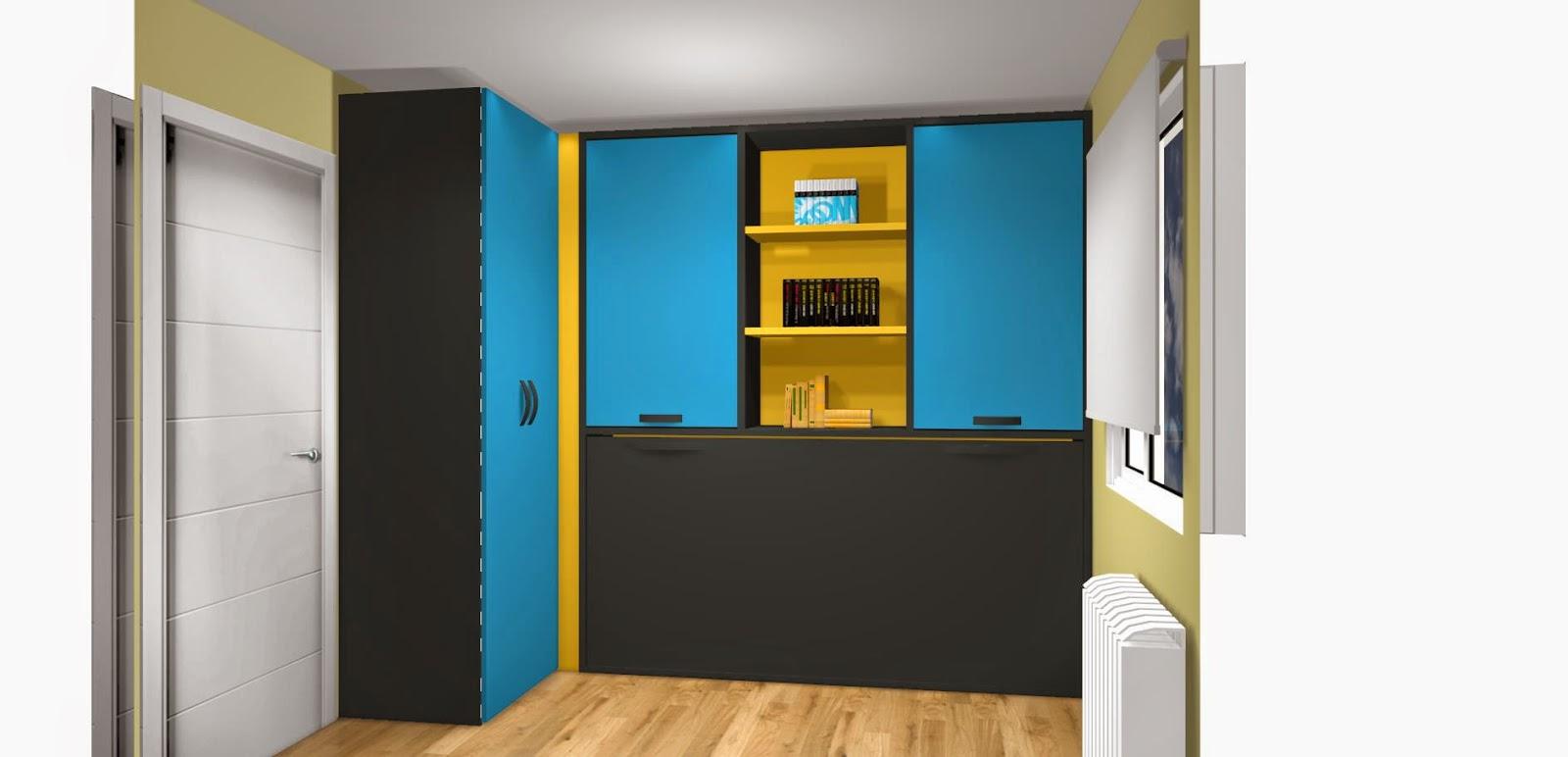 Habitación juvenil con cama abatible y armario
