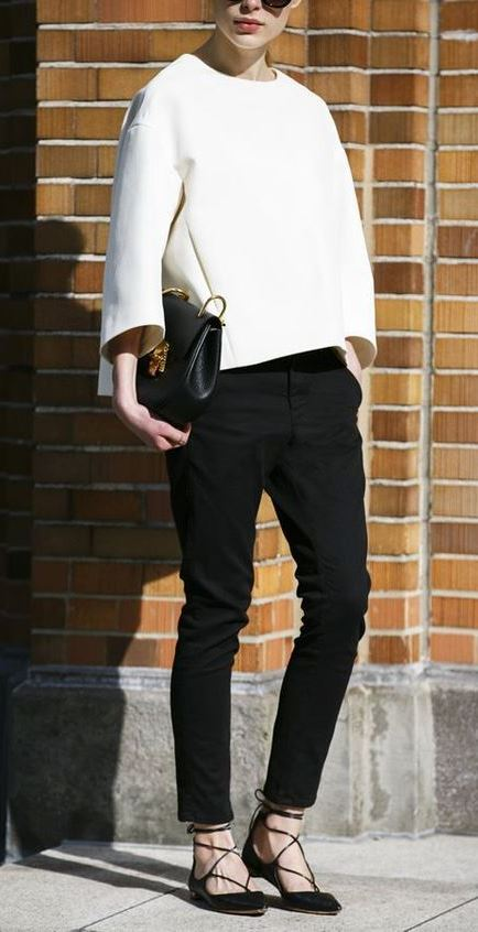 black and white business outfit / top + crossbody bag + pants + lace-up flats