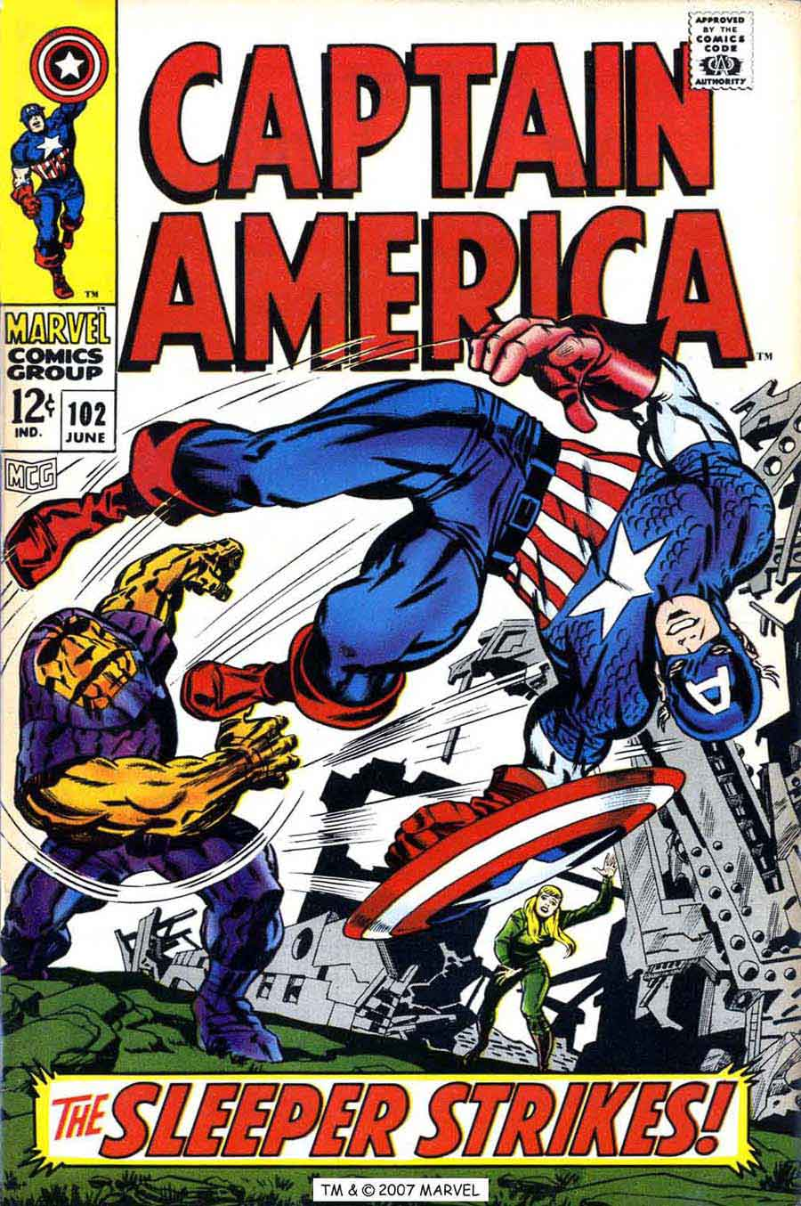 Captain America v1 #102 marvel comic book cover art by Jack Kirby