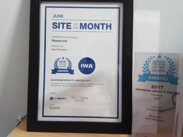 Riswan.net Raih Penghargaan Indonesia Website Award (IWA) 2017