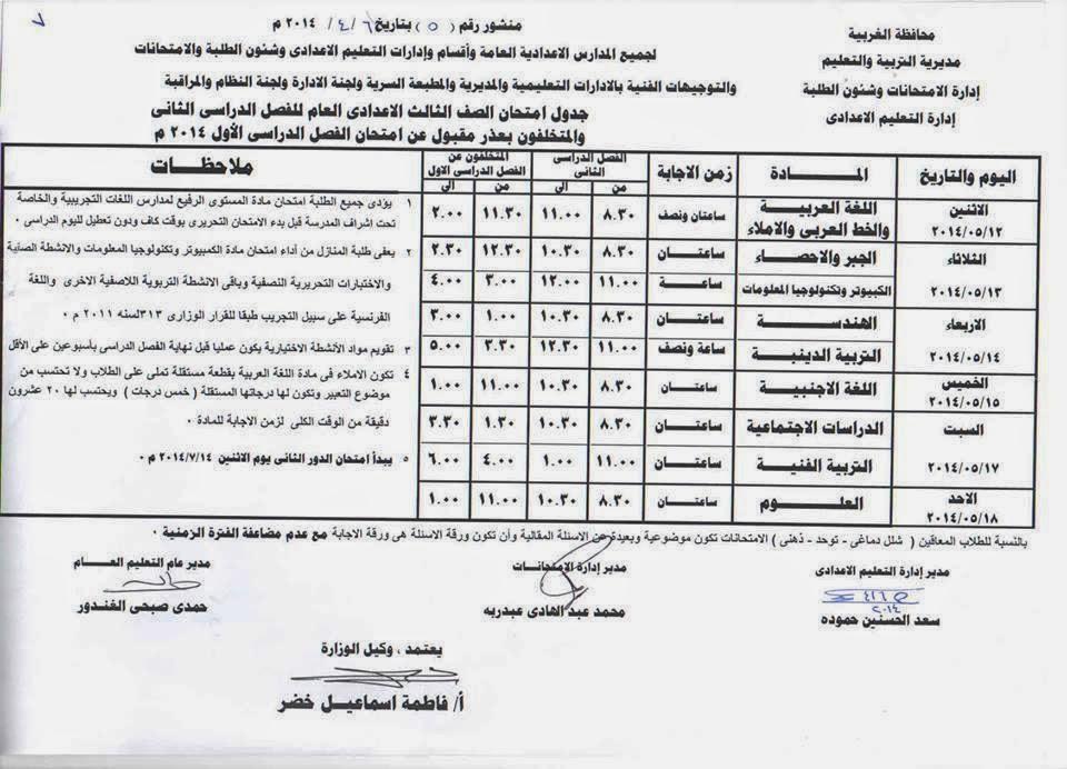 جدول امتحانات المرحلة الاعدادية الترم الثانى 2014 محافظة الغربية 10169313_85292358805