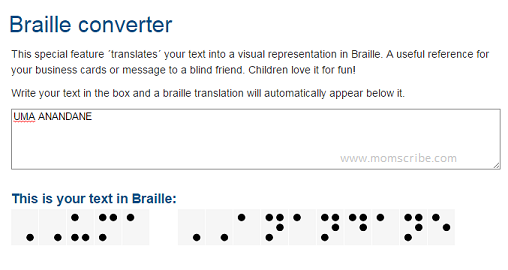 write your name in braille
