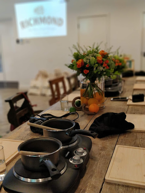table set for cooking masterclass with Richmond chicken sausages